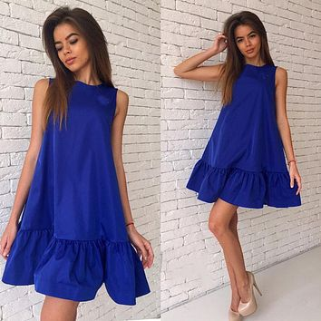 Women Ruffles Dress Summer Sleeveless A Line Bodycon Female Plus Size Short Mini Dresses Large Size Party Vestidos