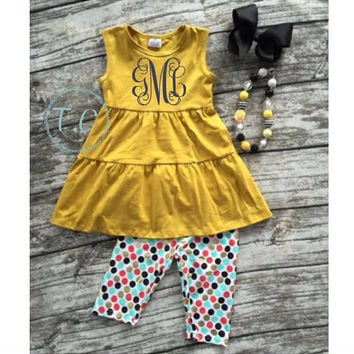 Baby Girls Monogram Outfit, Monogrammed dress, Girls Autumn Outfit set, Fall Clothing sets for girls, Baby girls outfit