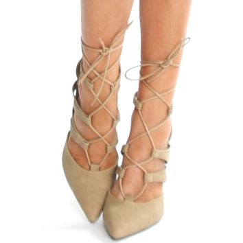 Lace Up Pointed Heels