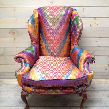 Wingback Armchair Upholstered in Antique Sari