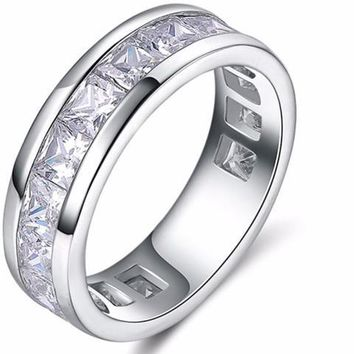 Silver Color Cubic Zirconia Wedding Rings for Unisex