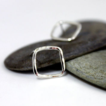 Sterling Silver Square Earrings/ Hammered Silver Earrings/ Simple post earrings/ Handmade Silver Earrings.