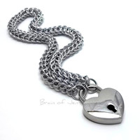 Slave Collar with Heart Lock Lightweight Silver Persian Chainmail Choker