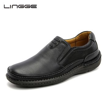 LINGGE Leather Casual Shoes For Men BLACK 100% Real Leather Slip-On 2017 New Fashion Mens Shoes #5181/5182