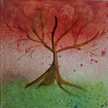 Red Tree Water Color Original Painting 10 x 10 SFA