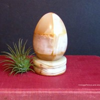 Vintage Alabaster Egg, Stone Carving, Display Egg, Vintage Stone Egg Figurine