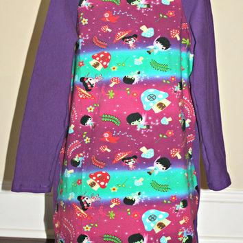 4T-5 Fairy dress with Raglan style long sleeves, purple mushroom dress