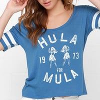 Blue Letter Print Striped Sleeve Tee