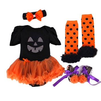 Fashion Halloween Girls toddler Newborn baby outfit Infant Romper Dress 4pcs/Set Tutu Skirt + Headband + Shoes + Leg Warmer Short Sleeve Outfit Summer Jumpsuit Set 0-3m,3-6m,6-12m = 1946919940