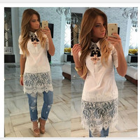 Shirt Short Sleeve Lace Patchwork Sexy One Piece Dress [4970285764]