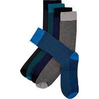 River Island MensBlue textured socks 5 pack