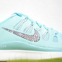 CLEARANCE! Bling Nike Free 5.0+ Shoes - Tiffany Blue / Glacier Ice - Bedazzled with 1