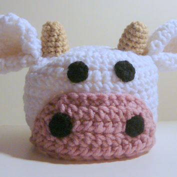 Cow Hat PDF Crochet Pattern - Newborn to Adult INSTANT DOWNLOAD