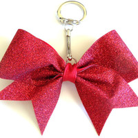Glimmer Glitter Cheer Bow Key Chain