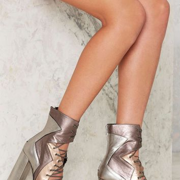 Nasty Gal Metal Me Halfway Leather Heels