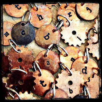 STAMPED INITIAL CHARMS - Small 1/2 inch Hand Stamped Copper Letter Charms - Rustic - Great Add On to Any Pendant