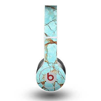The Cracked Teal Stone Skin for the Beats by Dre Original Solo-Solo HD Headphones