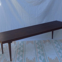 Mid Century Modern Slat Bench Coffee Table 5 feet long Very Sturdy Eames Era Furniture Front Hall Bedroom