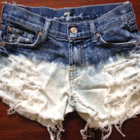 High Waisted Denim Shorts - Bleach Splatter, vintage distressed denim, xsmall - plus size
