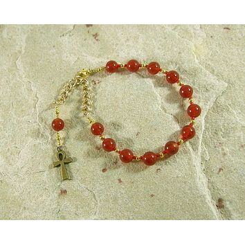 Ankh Prayer Bead Bracelet in Carnelian, Egyptian Symbol of Life