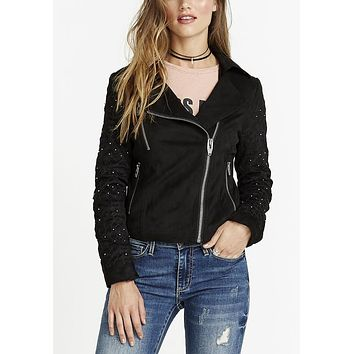 Buffalo David Bitton Starlite Moto Faux-Suede Studded Sleeve Jacket