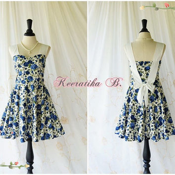 A Party Princess - Retro Vintage Inspired Blue Roses Floral Sundress Spring Summer Party Dress Floral Tea Dress Bridesmaid Dress Custom Made