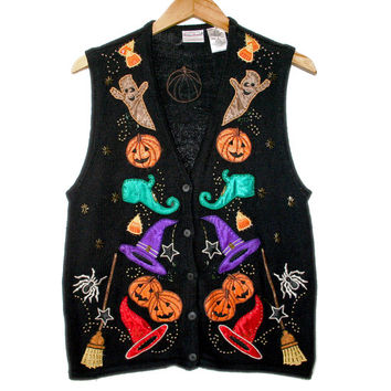 Mr Hankey Ghosts & Elf Shoes Tacky Ugly Halloween Sweater Vest - The Ugly Sweater Shop