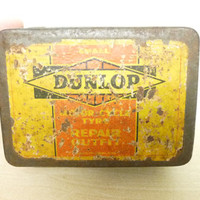 Dunlop Motor Cycle Tyre Repair Outfit, 1940's or 1950's, Tyre Repair Kit, Advertising Tin, With Contents, Made in England, Cycle Collectable