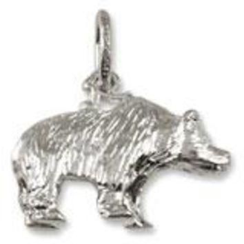 Grizzly Bear Charm In Sterling Silver