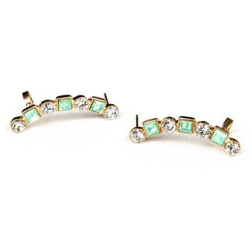 Peridot Curve Cuff Earrings
