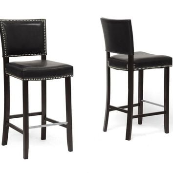 Baxton Studio Aries Bar Stool with Nail Head Trim in Set of 2