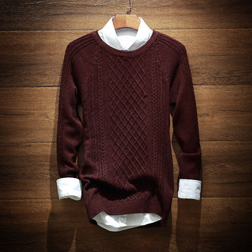 Mens Casual Roud Collar Comfortable Knitted Sweater