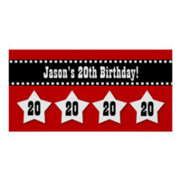 20th Birthday Red Black White Stars Banner V20S Poster