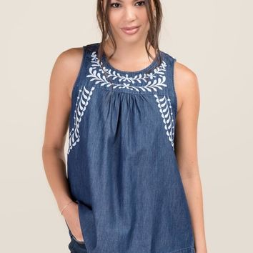 Coco Embroidered Tencel Sleeveless Top