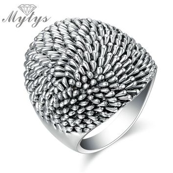 Mytys Trendy Black Retro Vintage Theatrical Design Big Ring Eye Catching Fashion Jewelry Chunky Ring 2017 New Arrival R1217
