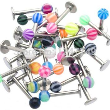 ESBONFI Piercing jewelry 10pcs Body Jewelry Mix Design Color Acrylic Ball Lip Piercing Labret Ring Helix Piercing Grillz