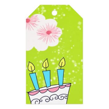 Lime Green Birthday Cake Gift Tags