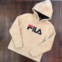 ONETOW FILA Fashion Casual Long Sleeve To Keep Warm Lambs wool Hoodie Pullover Sweater Khaki G