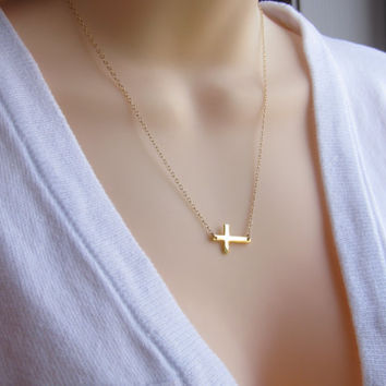 Kelly Ripa Sideways Cross Gold Necklace- Celebrities inspired -Horizontal Cross- Celebrities necklace s.