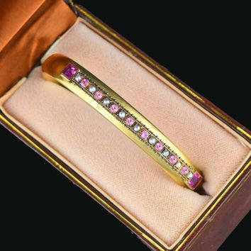 Antique Pearl Pink Sapphire Gold Bangle Bracelet