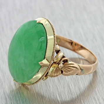 1880s Antique Victorian Estate 14k Solid Yellow Gold Dyed Green Jade Ring