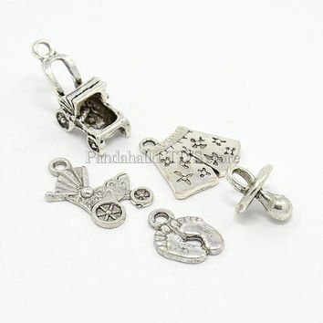 Sets Antique Silver Tibetan Alloy Metal Guitar Christmas Piano Baby Newborn Musical Instruments Note Charms Pendants