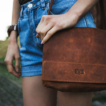 Handmade bag for women, genuine leather bag, small shoulder bag from leather, Vintage