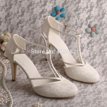 Custom Made High Heel T-strap Shoes Wedding Ivory Lace Bridal Shoes Summer