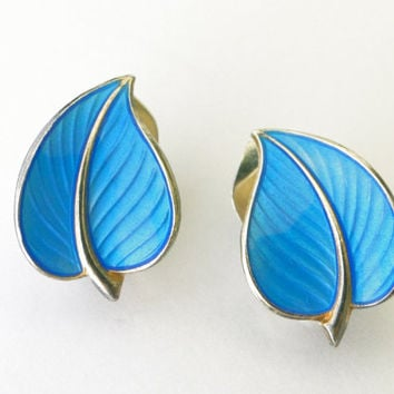 Norway sterling. Hans Myhr. Vintage blue enameled leaf earrings.