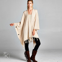Oversized Tasseled Button Poncho