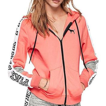 Victoria's Secret Pink Letter Print Fashion Women Zipper Hoodie Sweater Stitching And Sky Blue