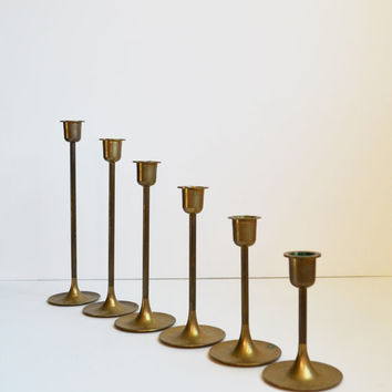 Vintage Brass Candlesticks Danish Modern Candle Holders Set of 6 Graduated Brass Candlesticks Christmas Decoration