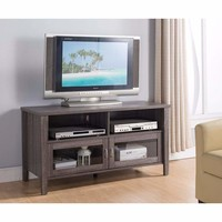 Amazing TV Stand With See Through Cabinets, Gray