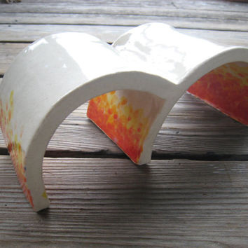 Little Reptile Arches - Aquarium Decor - Ceramics and Pottery - Red Orange Yellow - Toad Abode - Small Reptile Hide - Tanks and Aquariums